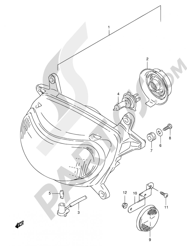 25B - HEADLAMP (MODEL V/W/X E04,E17,E18,E22,E25,E34,P09,P37) Suzuki FREEWIND XF650 1998