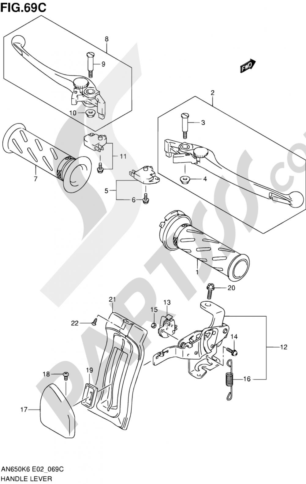 69C - HANDLE LEVER (AN650AK9/AL0 E24,E51,P37) Suzuki BURGMAN AN650 2009