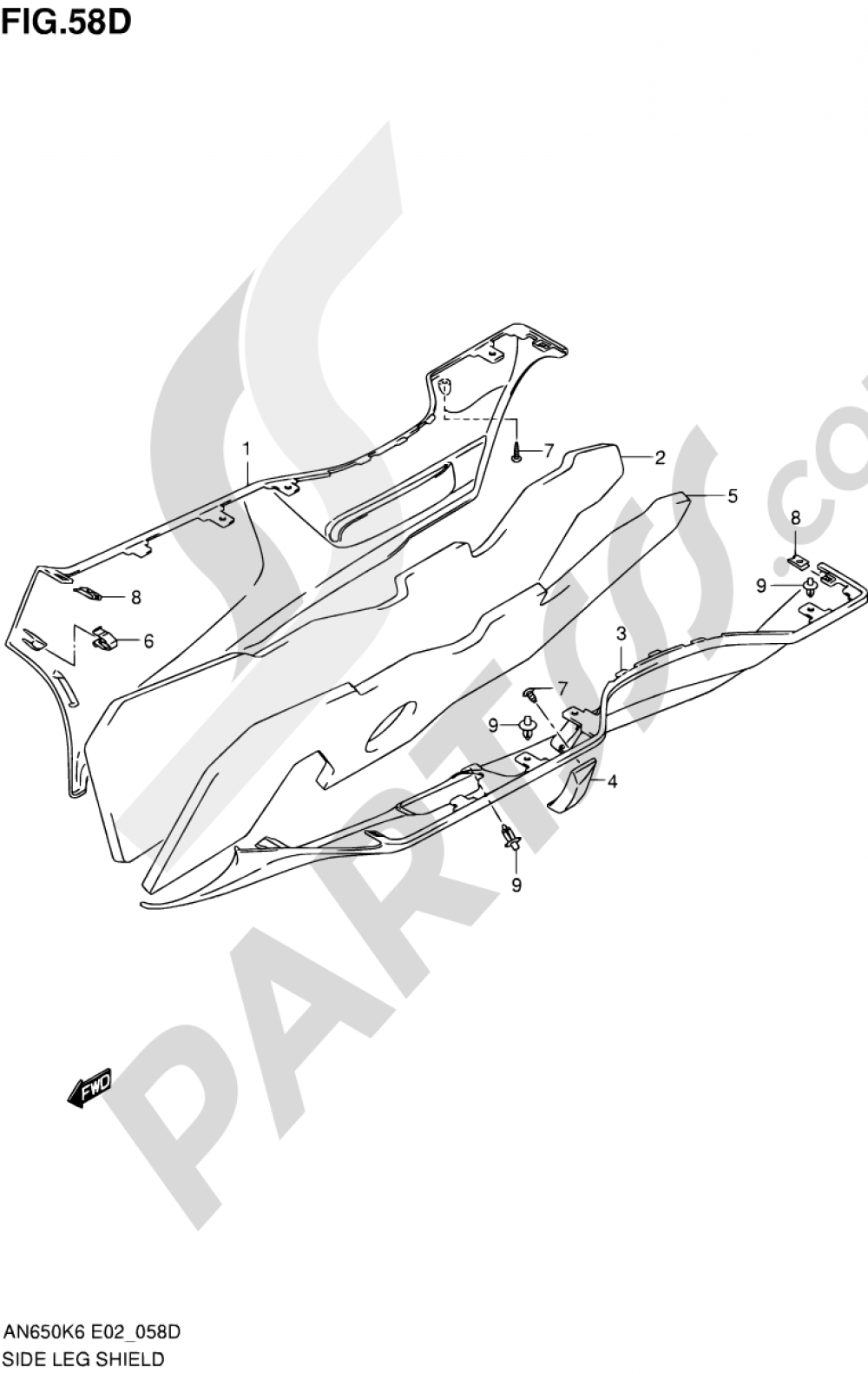 58D - SIDE LEG SHIELD (AN650L0) Suzuki BURGMAN AN650 2010