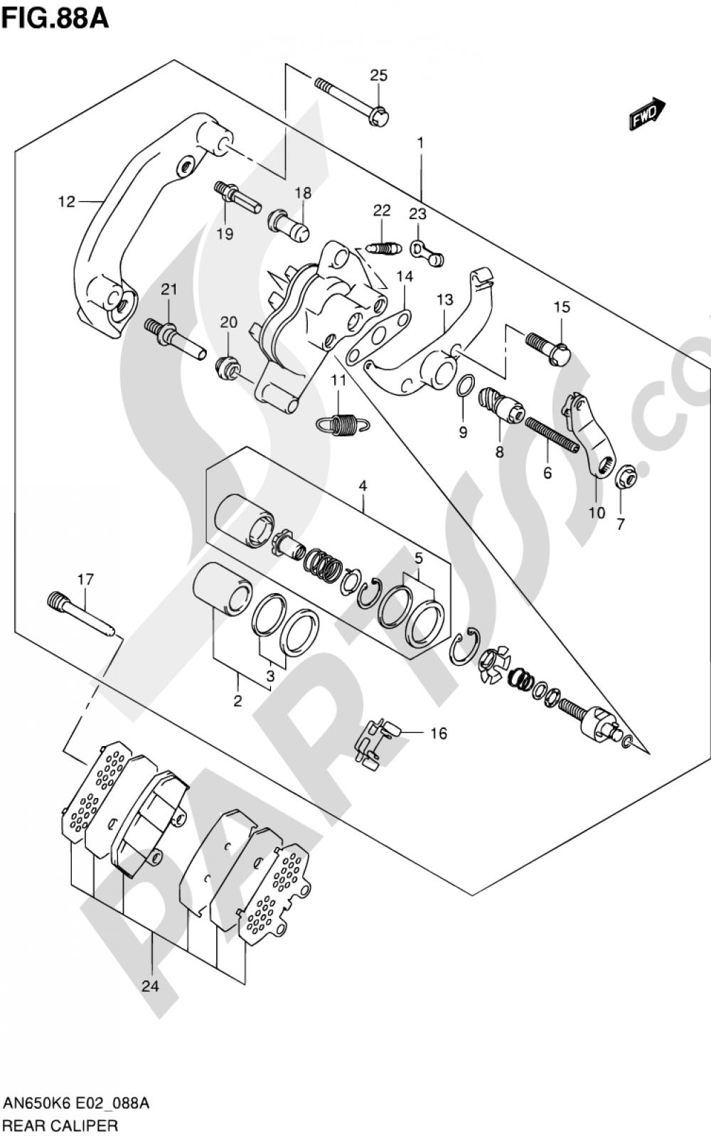 88A - REAR CALIPER (MODEL K9/L0) Suzuki BURGMAN AN650 2010