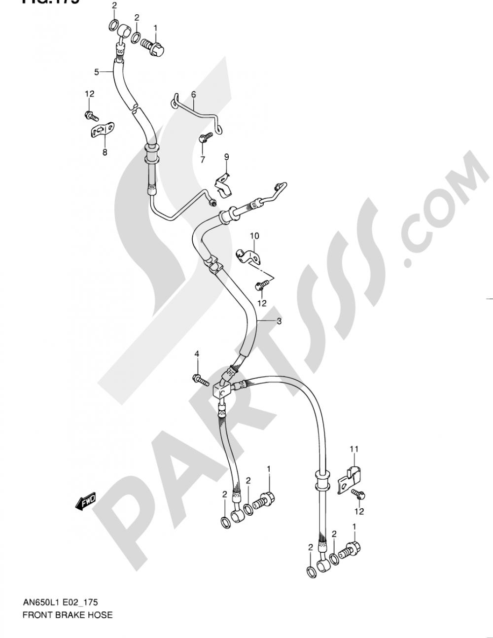 175 - FRONT BRAKE HOSE (AN650AL1 E51) Suzuki BURGMAN AN650 2011