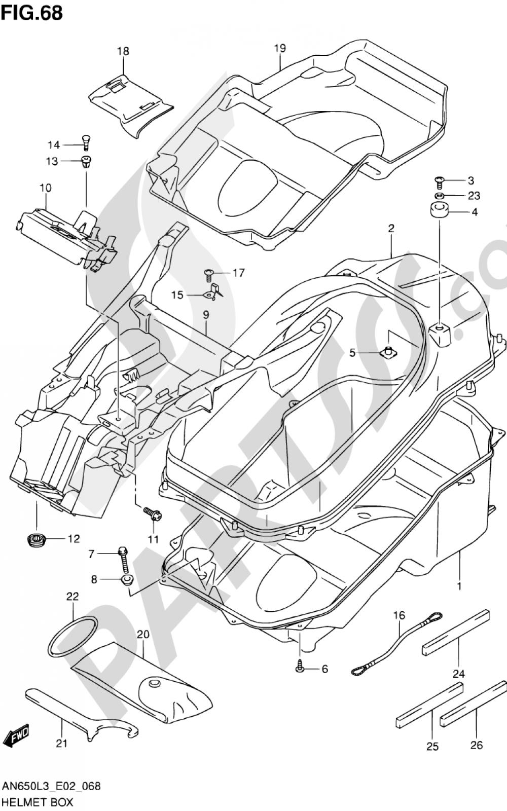 68 - HELMET BOX Suzuki BURGMAN AN650 2013