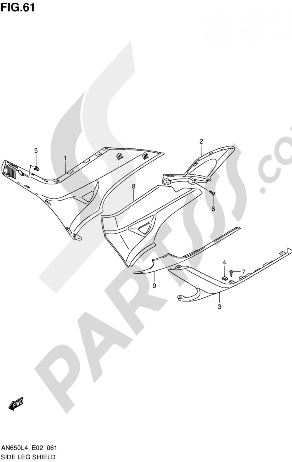 61 - SIDE LEG SHIELD Suzuki BURGMAN AN650 2014