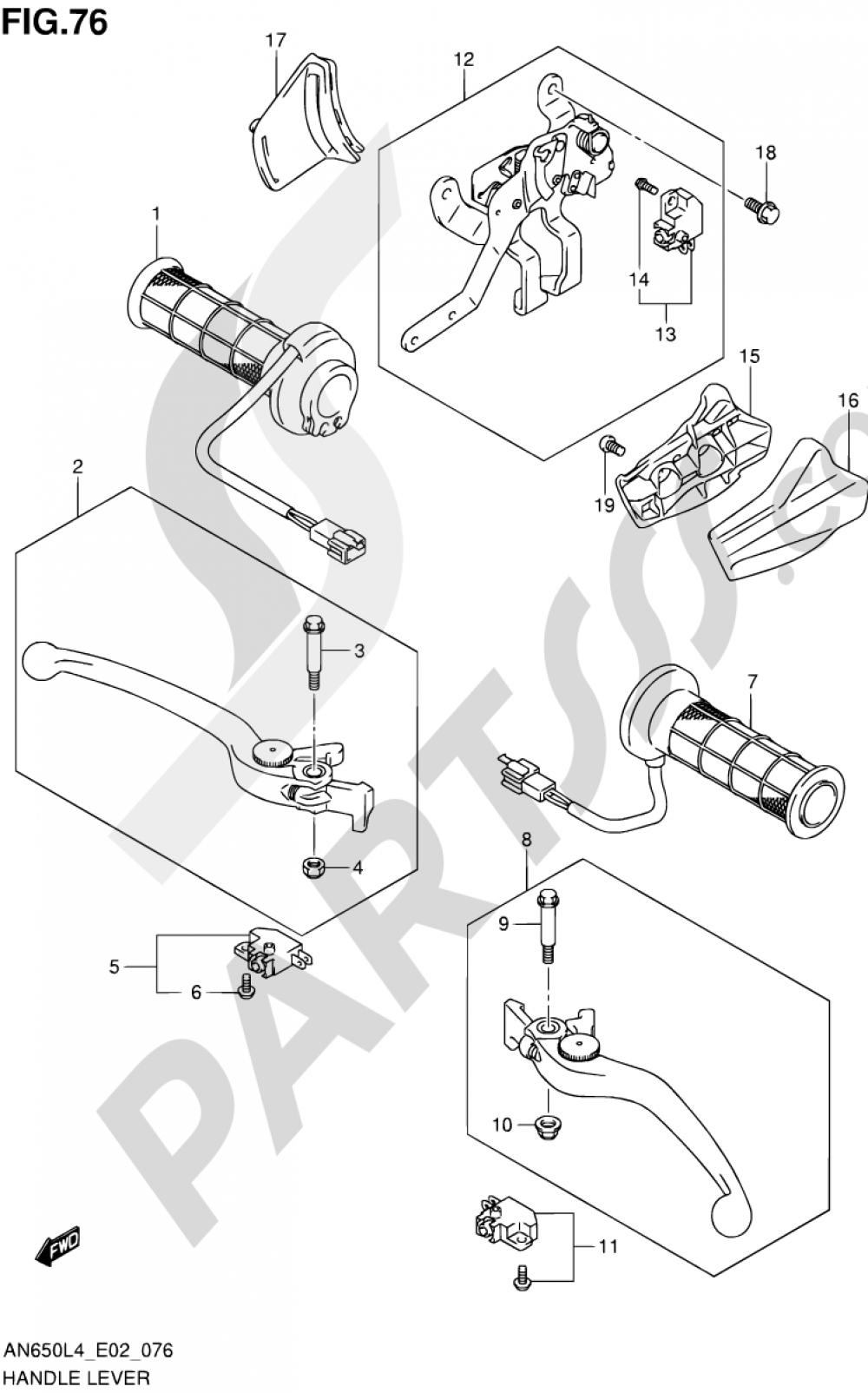 76 - HANDLE LEVER (AN650ZL4 E19) Suzuki BURGMAN AN650 2014