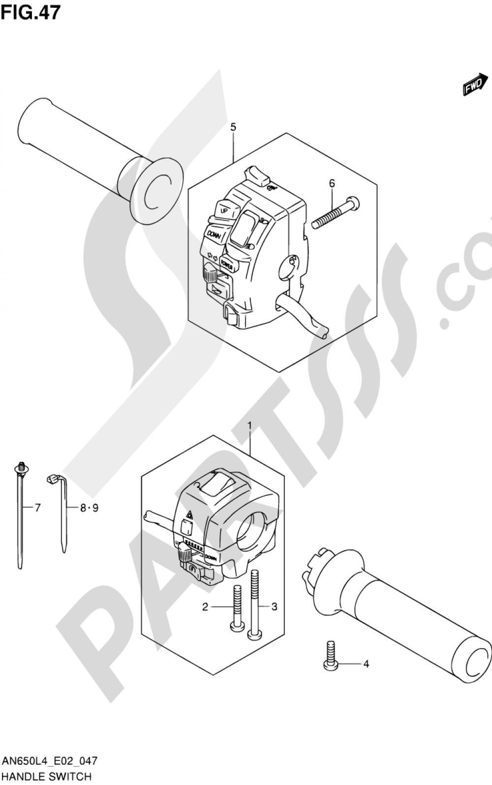 47 - HANDLE SWITCH (AN650L4 E02) Suzuki BURGMAN AN650 2014