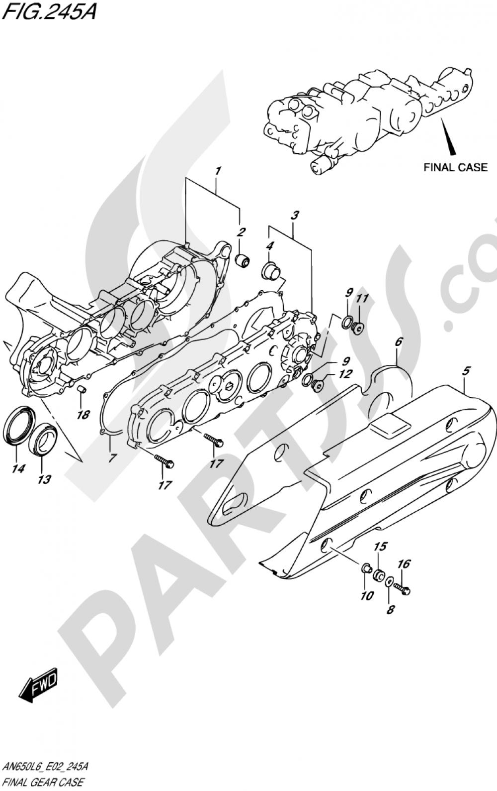245A - FINAL GEAR CASE Suzuki BURGMAN AN650 2016