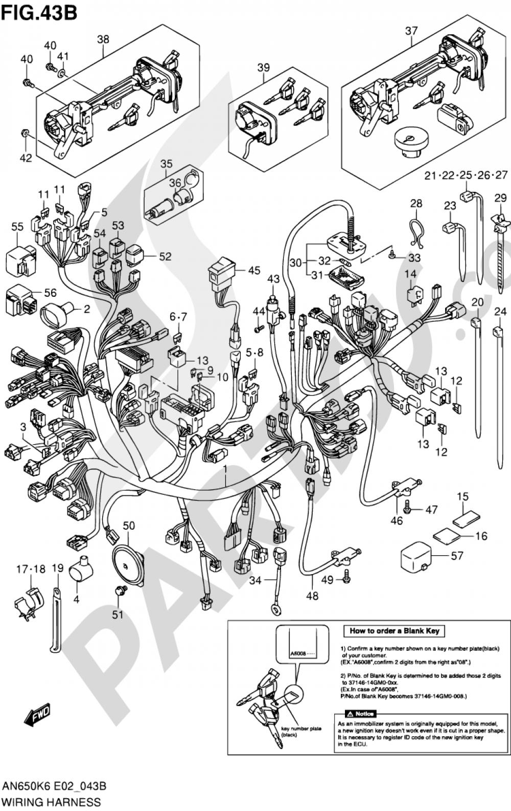 43B - WIRING HARNESS (AN650AK9/AL0 E02/E19/P37) Suzuki BURGMAN AN650A 2006