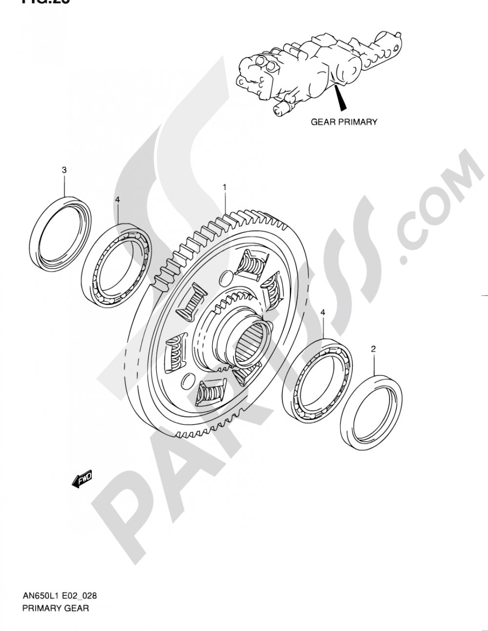 28 - GEAR PRIMARY Suzuki BURGMAN AN650A 2011