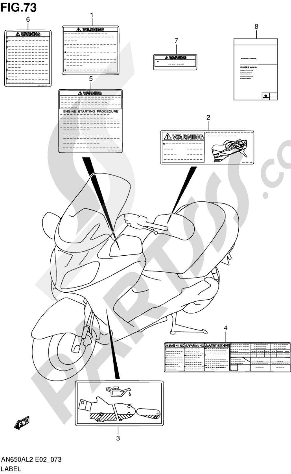 73 - LABEL (AN650AL2 E02) Suzuki BURGMAN AN650A 2012