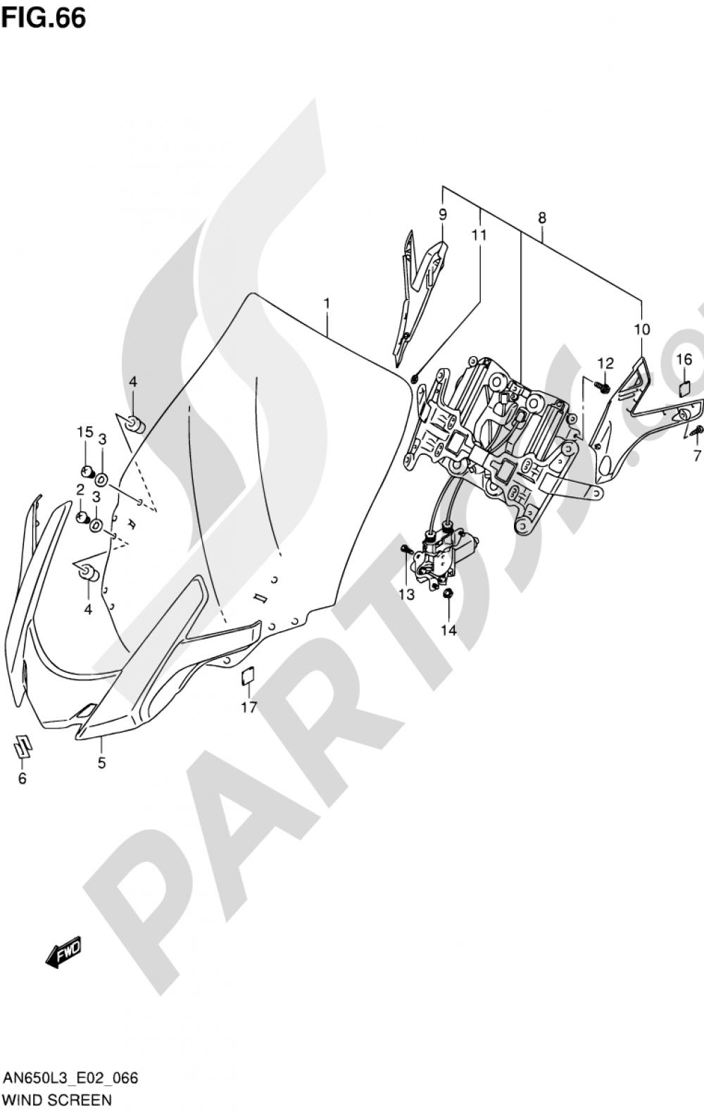 66 - WIND SCREEN Suzuki BURGMAN AN650Z 2013