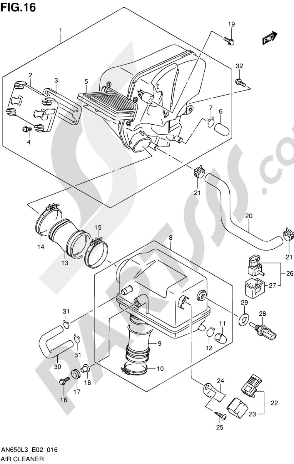 16 - AIR CLEANER (AN650ZL3 E19) Suzuki BURGMAN AN650Z 2013