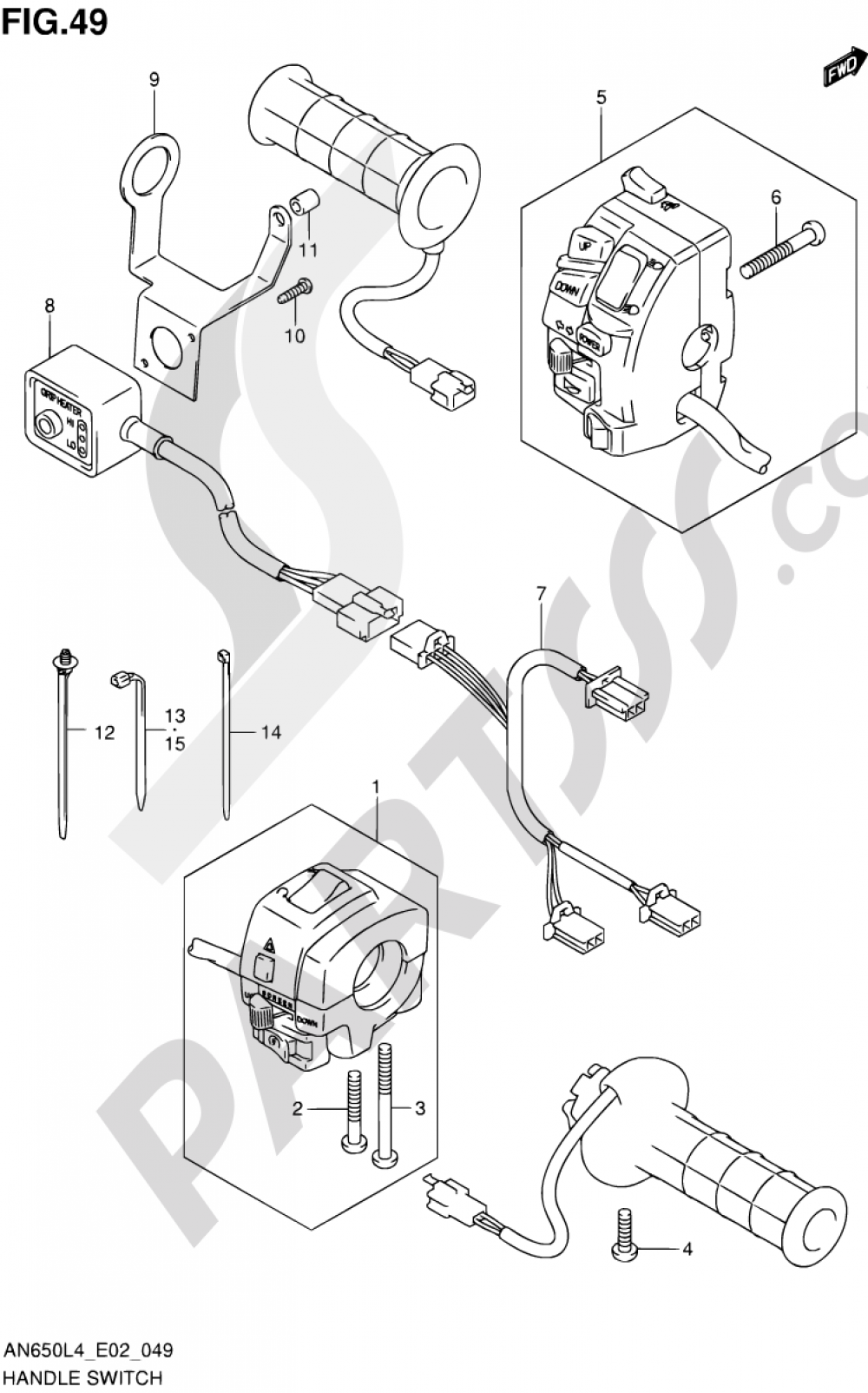 49 - HANDLE SWITCH (AN650ZL4 E02) Suzuki BURGMAN AN650Z 2014