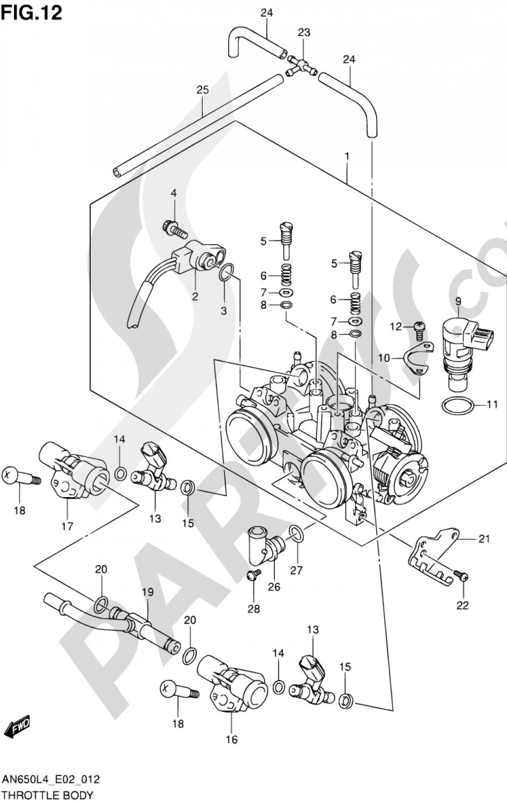 12 - THROTTLE BODY Suzuki BURGMAN AN650Z 2014