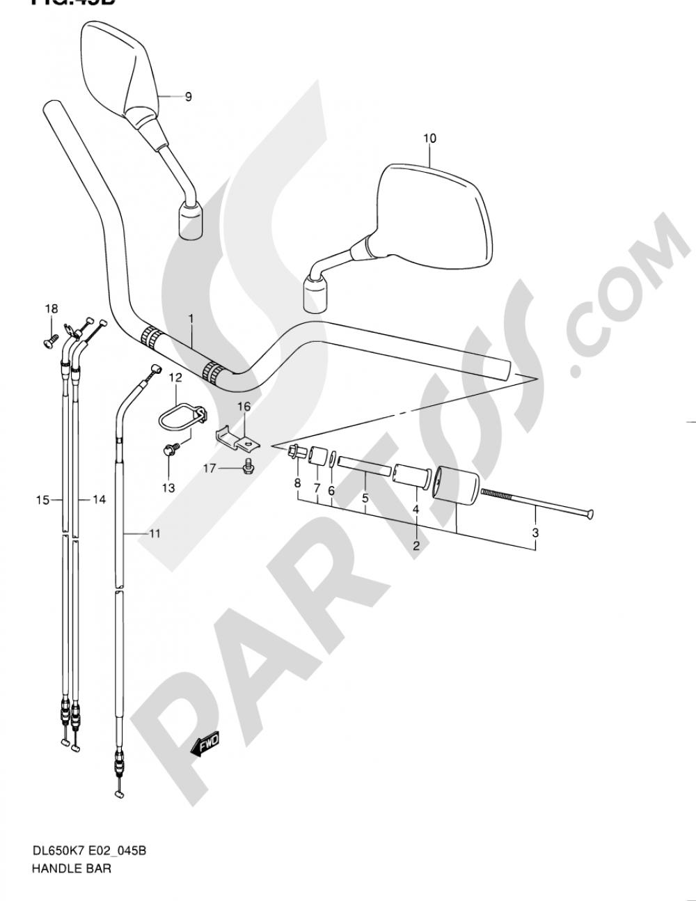 45B - HANDLEBAR (MODEL K9 P37/MODEL L0) Suzuki VSTROM DL650 2008