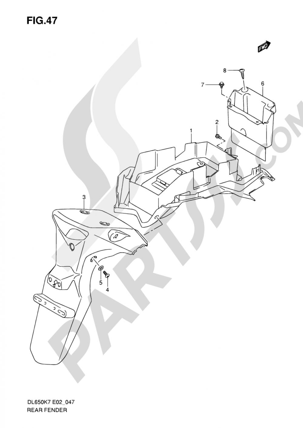 47 - REAR FENDER Suzuki VSTROM DL650 2008