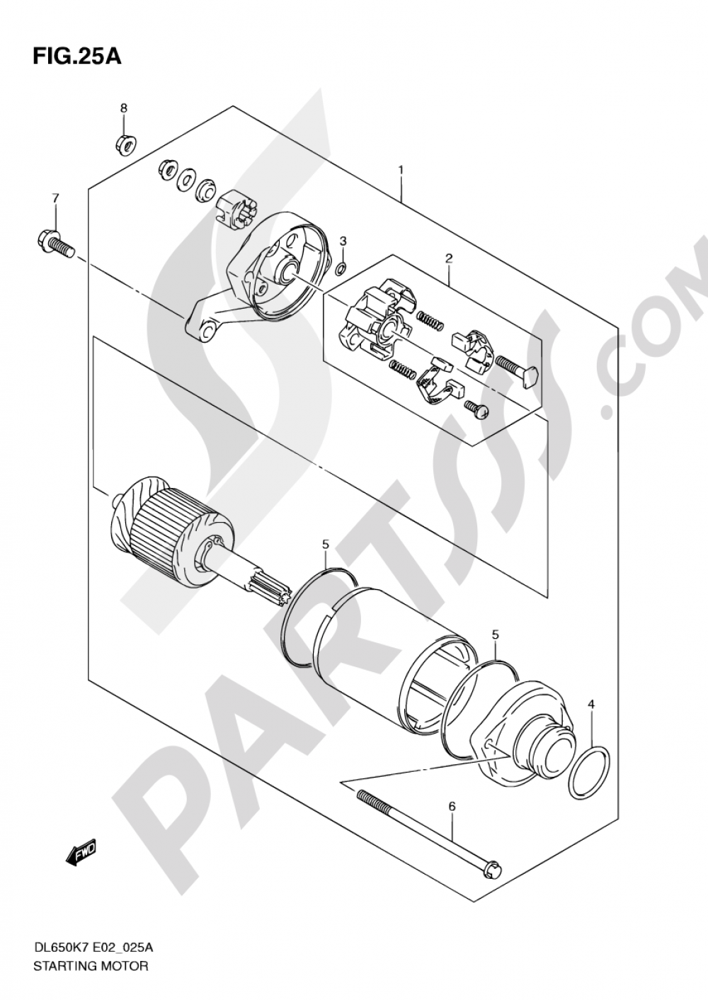 25A - STARTING MOTOR (MODEL K9 P37,MODEL L0) Suzuki VSTROM DL650 2009
