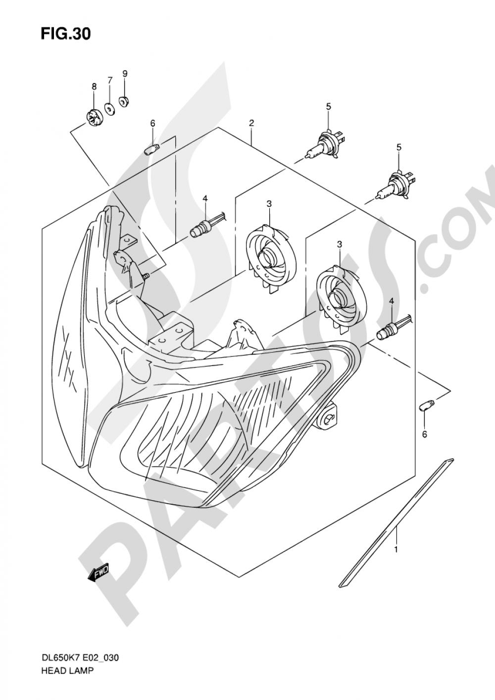 30 - HEADLAMP (E02/E19/P37) Suzuki VSTROM DL650 2009