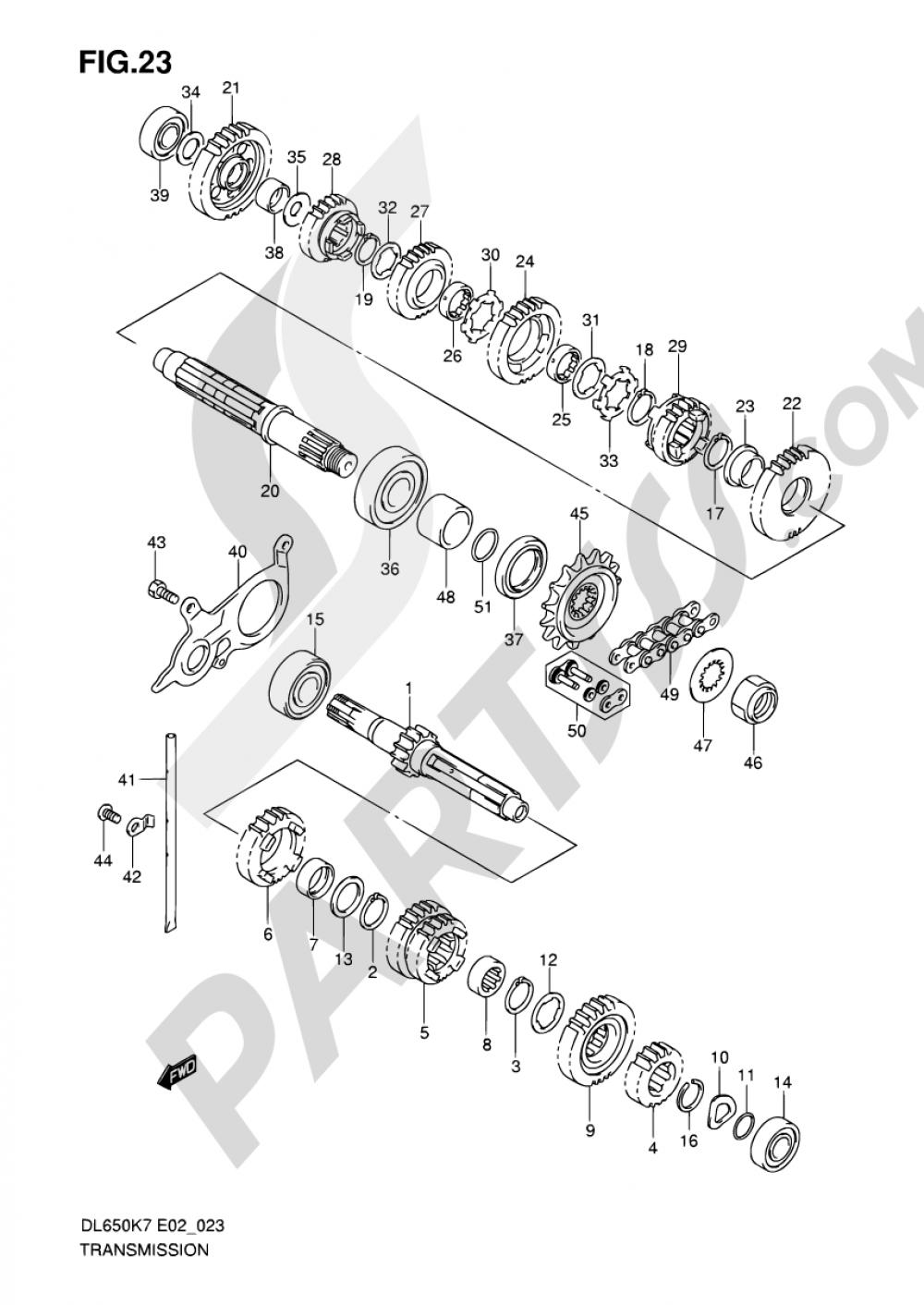 23 - TRANSMISSION Suzuki VSTROM DL650 2009