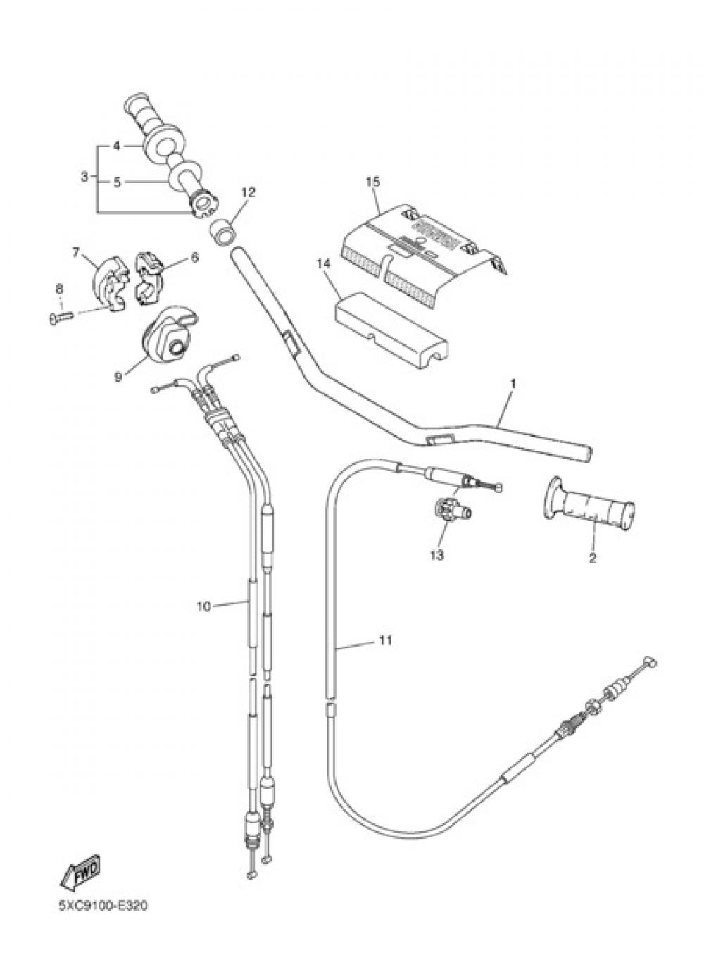 STEERING HANDLE & CABLE Yamaha YZ250F 2008