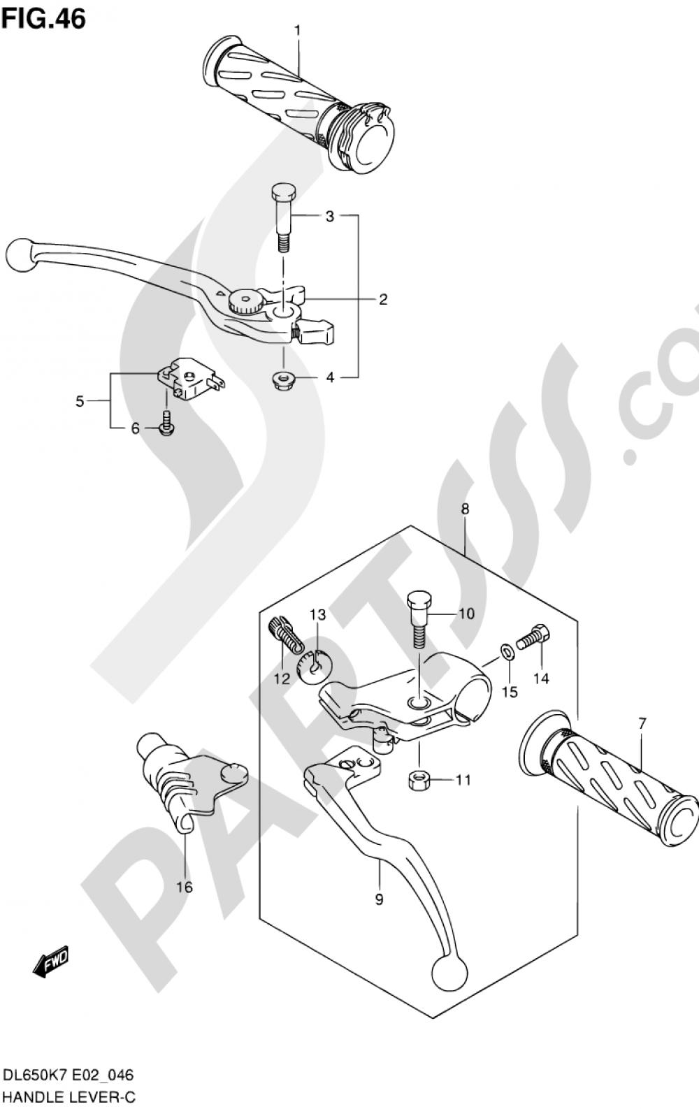 46 - HANDLE LEVER (MODEL K7/K8) Suzuki VSTROM DL650A 2007