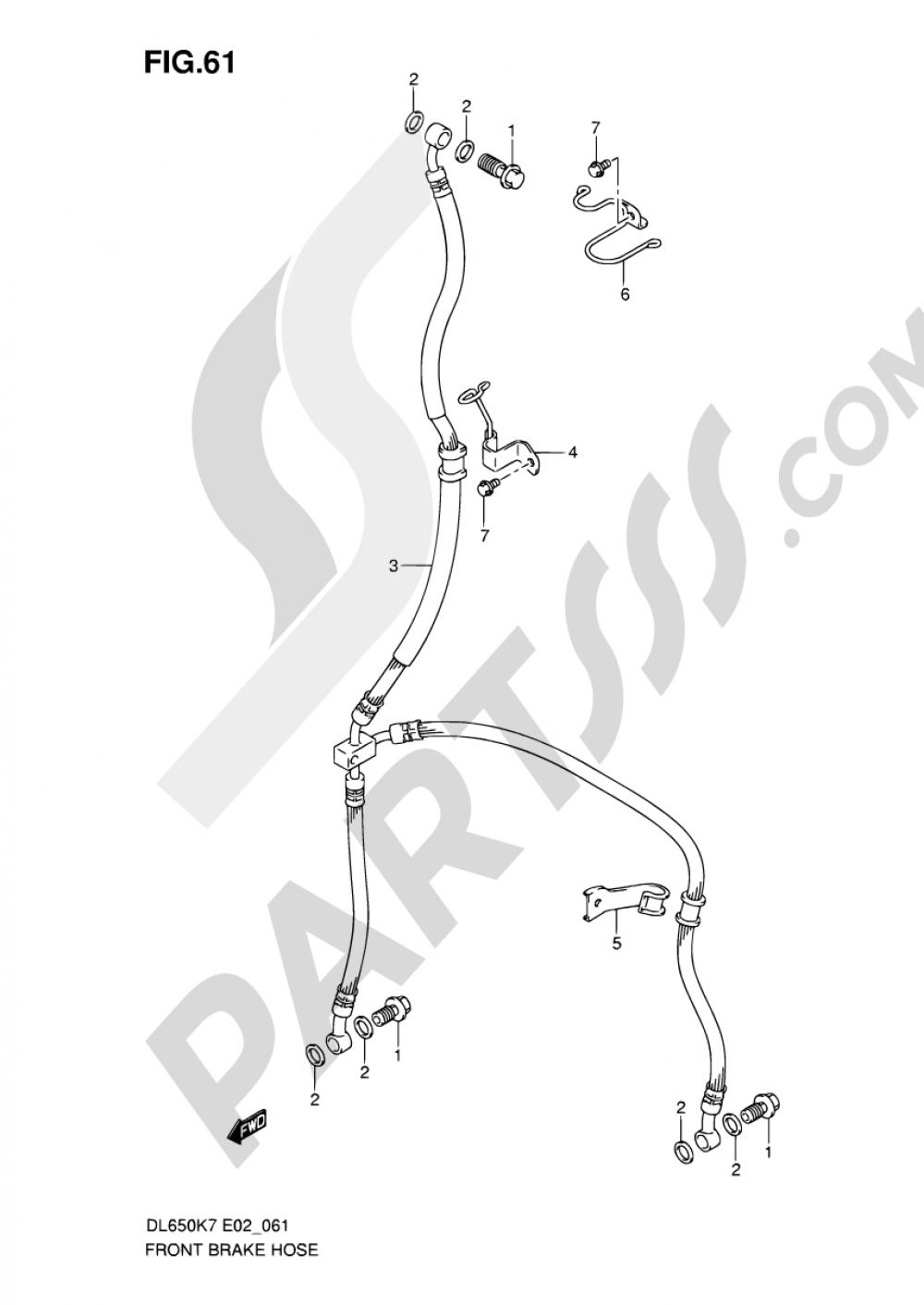 61 - FRONT BRAKE HOSE (DL650K7/K8/K9/L0/UEL0) Suzuki VSTROM DL650A 2007