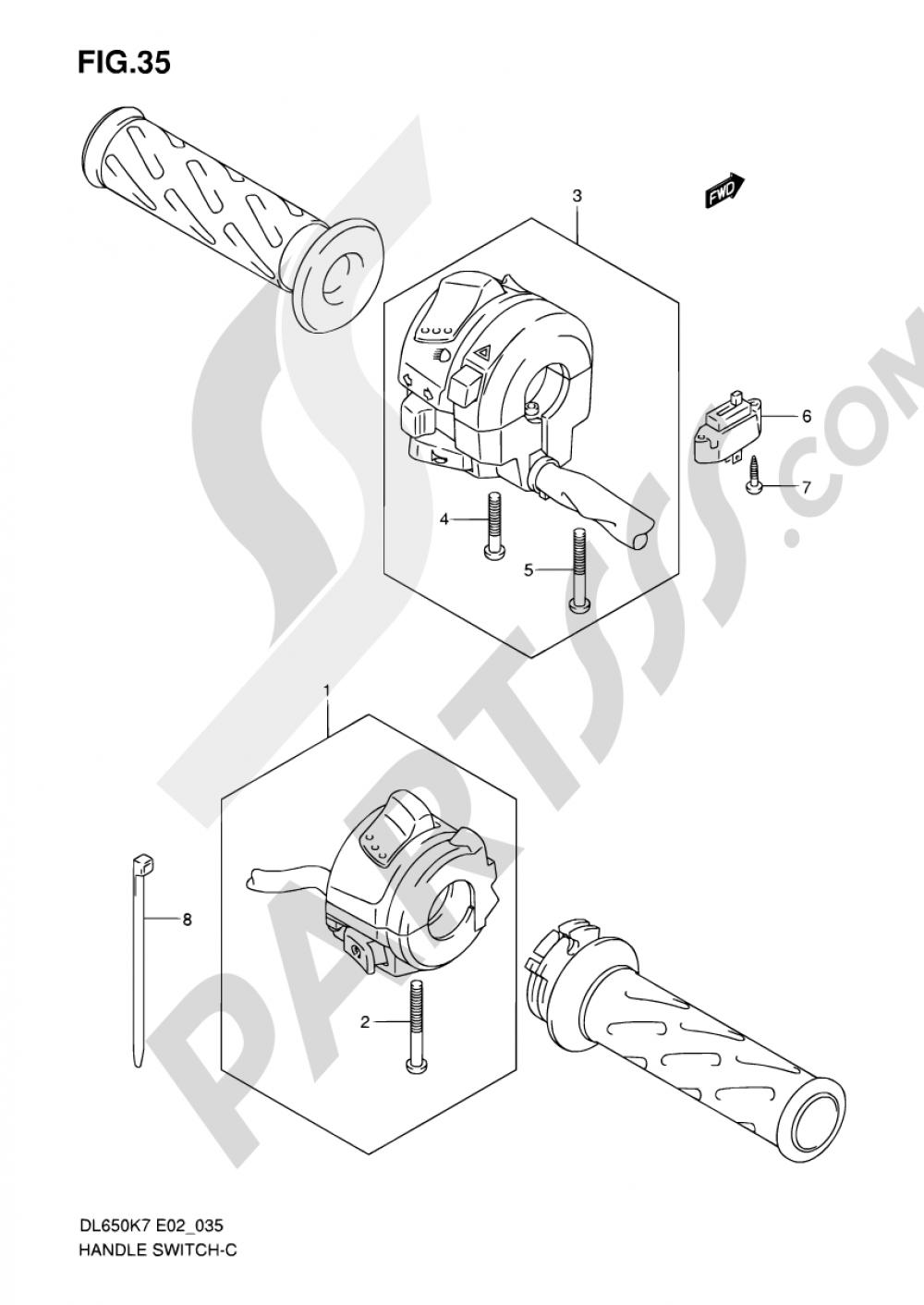 35 - HANDLE SWITCH (MODEL K7/K8/K9 E02/E19/E24) Suzuki VSTROM DL650A 2009