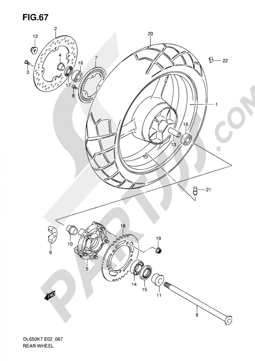 67 - REAR WHEEL (DL650AK7/AK8/AK9/AL0/AUEL0) Suzuki VSTROM DL650A 2009