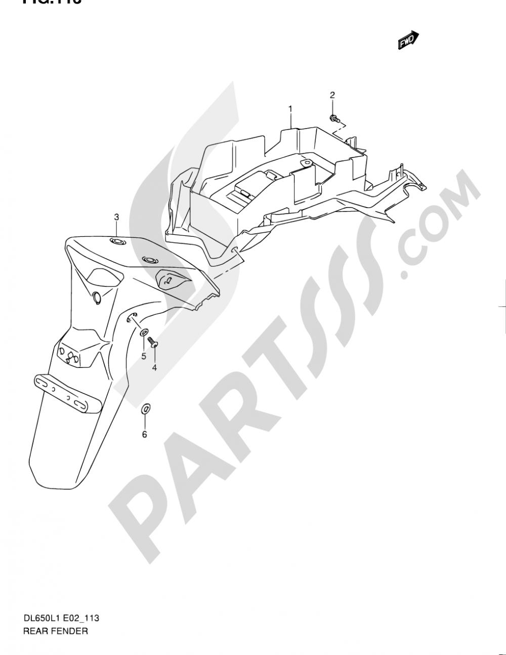 113 - REAR FENDER (DL650AL1 E19) Suzuki VSTROM DL650A 2011