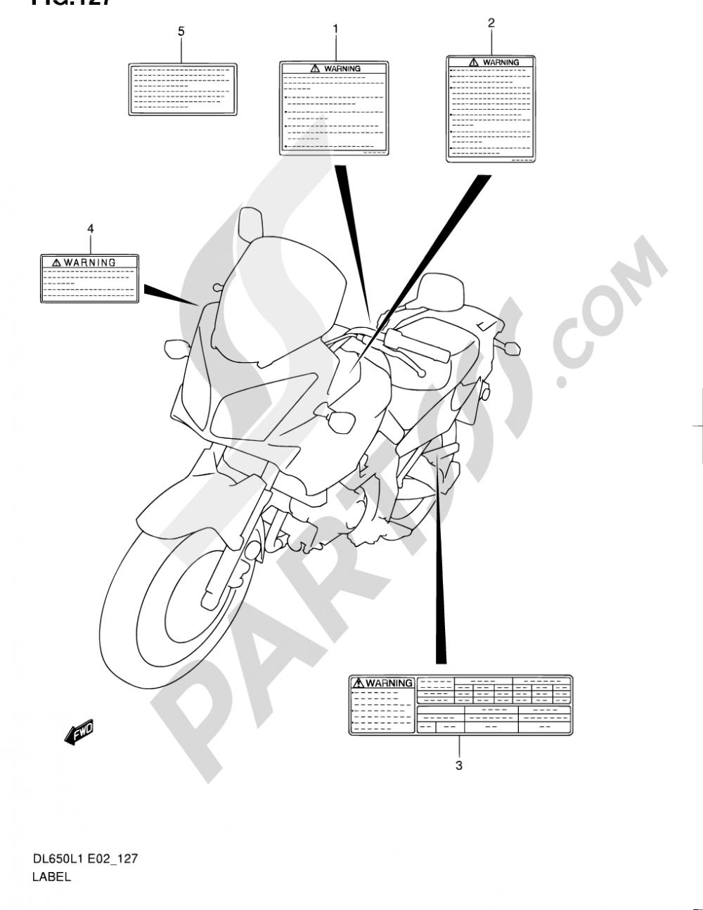 127 - LABEL (DL650UEL1 E19) Suzuki VSTROM DL650A 2011