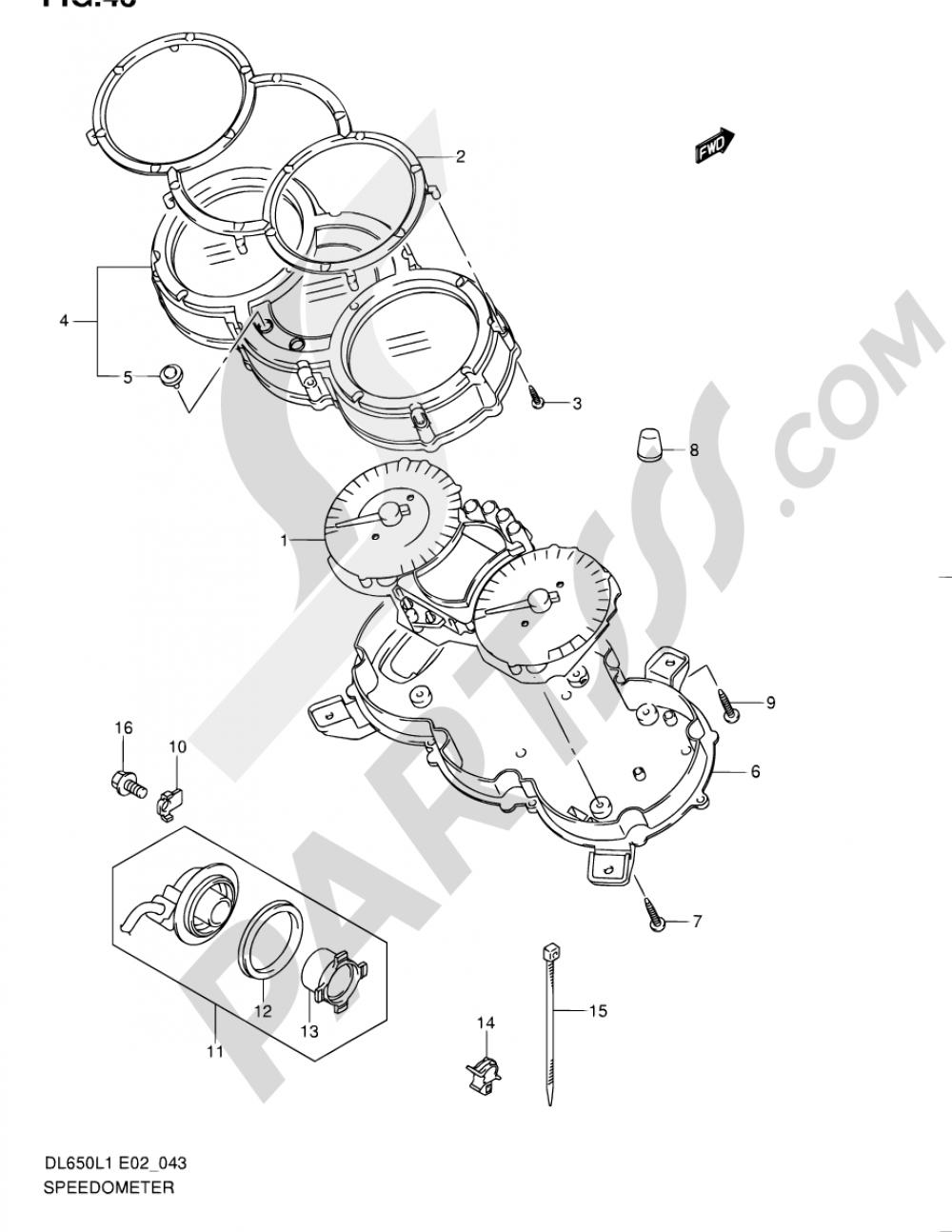 43 - SPEEDOMETER (DL650L1 E02) Suzuki VSTROM DL650A 2011