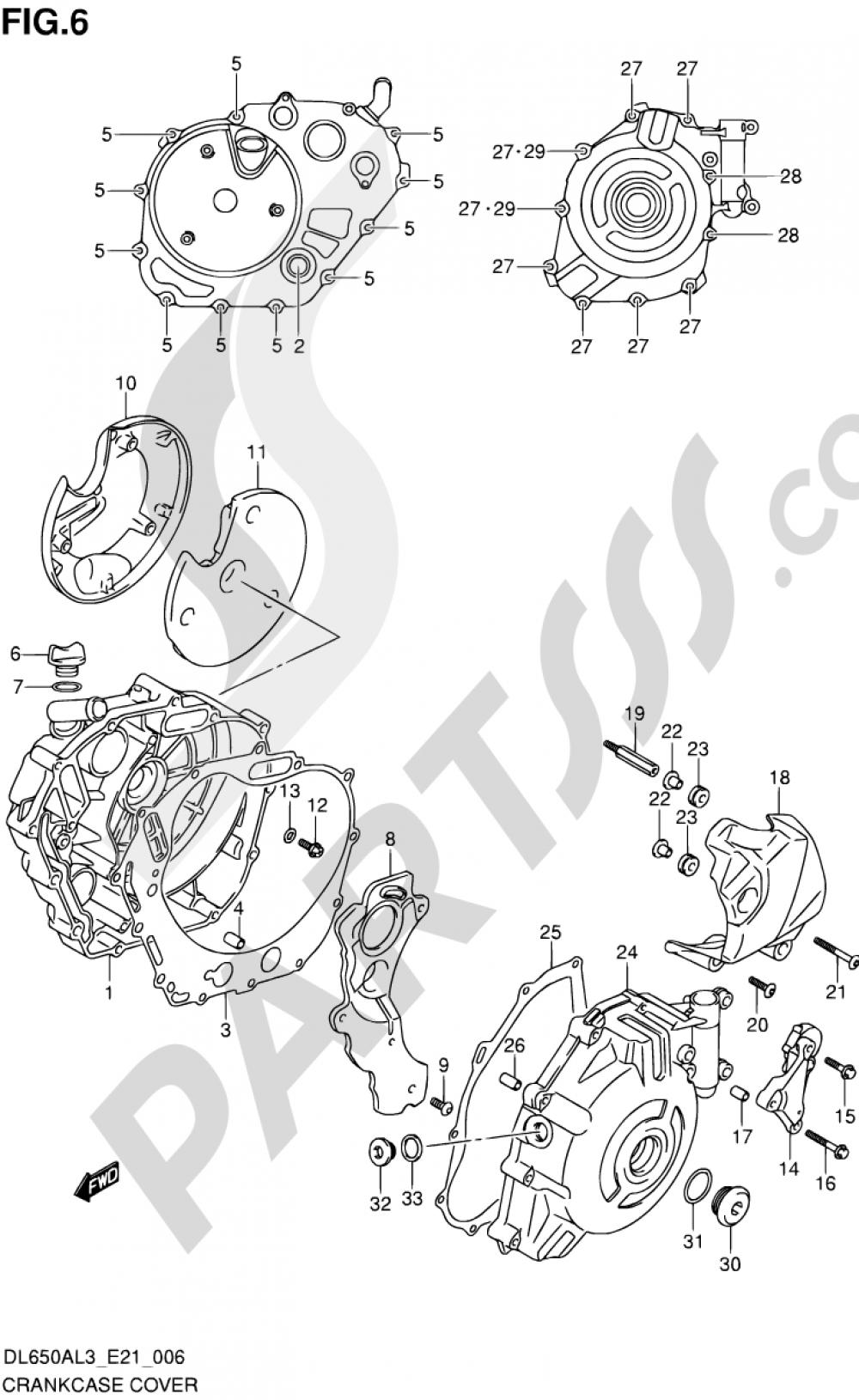 6 - CRANKCASE COVER Suzuki VSTROM DL650A 2013