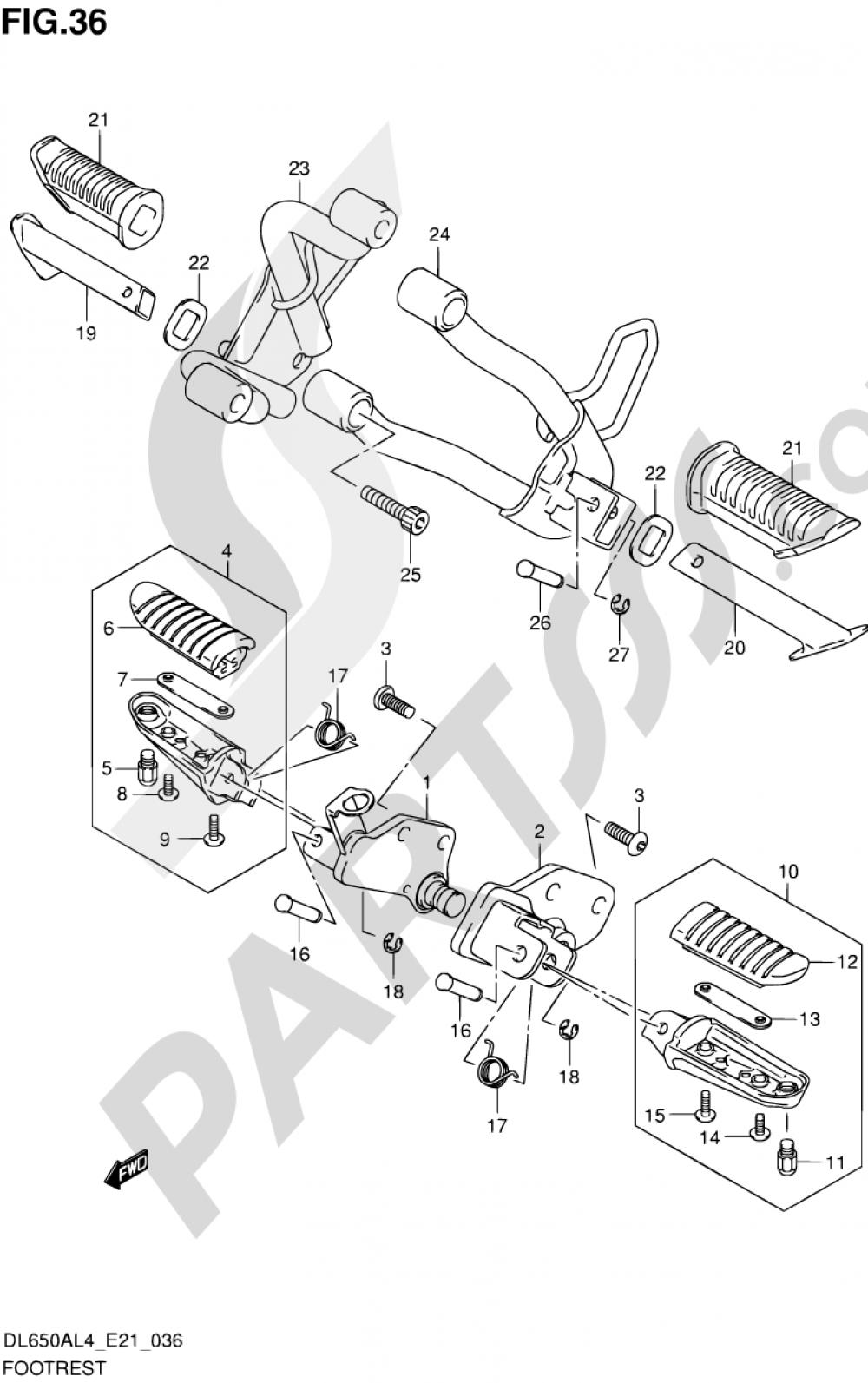 36 - FOOTREST Suzuki VSTROM DL650A 2014