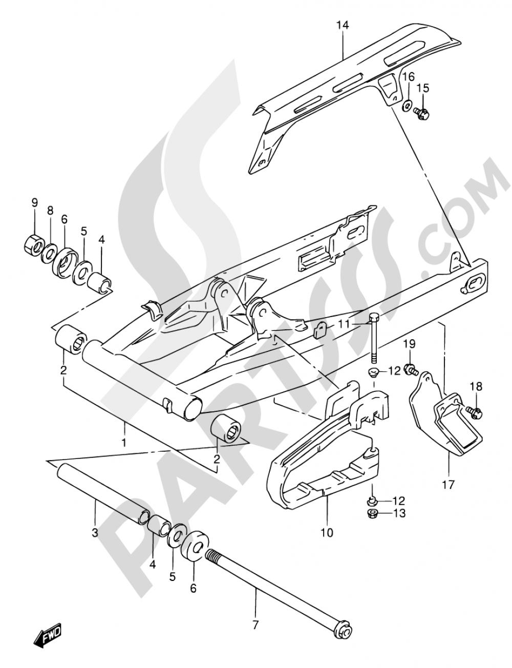 47 - REAR SWINGING ARM Suzuki DR650RE 1995