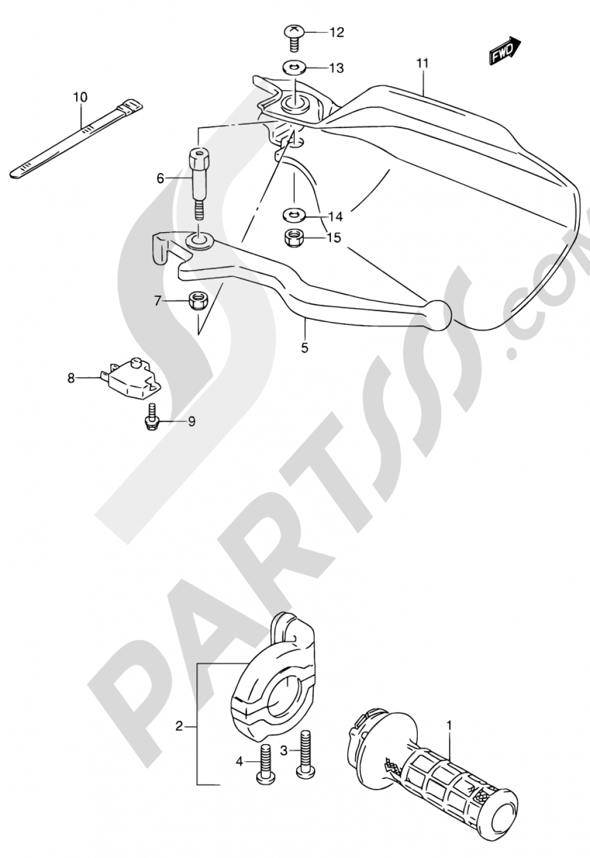 39A - RIGHT HANDLE LEVER (MODEL N/P/R/S/T) Suzuki DR650RSE 1995
