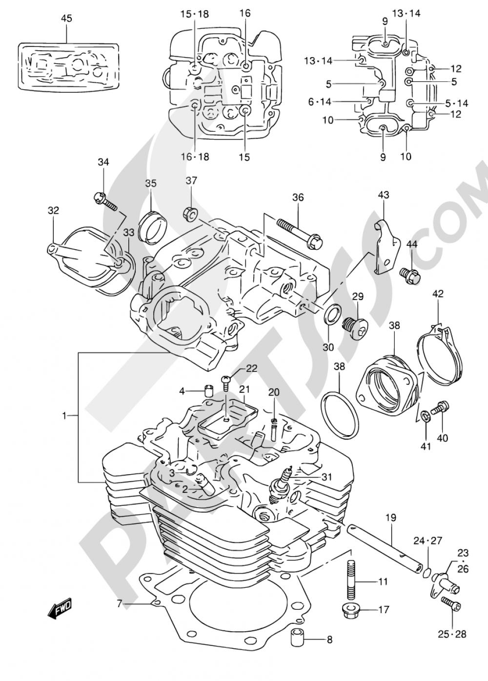 1 - CYLINDER HEAD Suzuki DR650RSE 1996