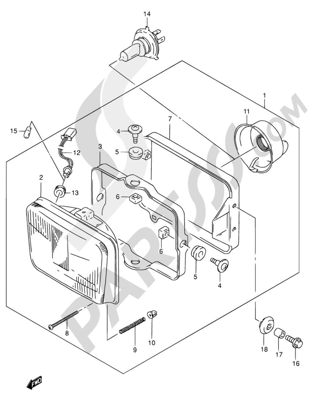 25 - HEADLAMP (MODEL K1 E04,E17,E18,E22,E34,E54) Suzuki DR650SE 2001