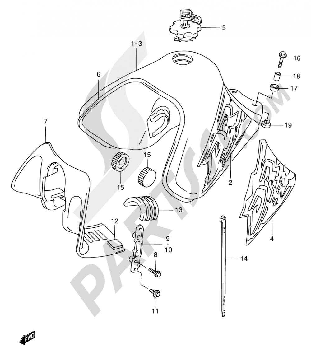 32 - FUEL TANK (MODEL T/V) Suzuki DR650SE 1997