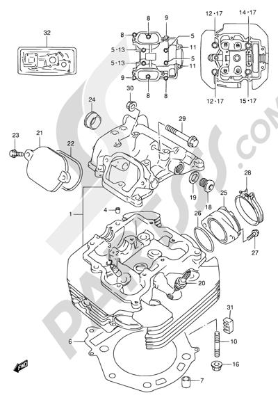 Suzuki DR650SE 1998 1 - CYLINDER HEAD