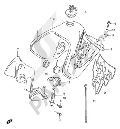 Suzuki DR650SE 1998 32A - FUEL TANK (MODEL W/X)