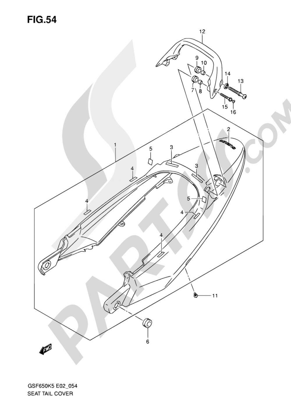 54 - SEAT TAIL COVER (GSF650SK5/SUK5/SAK5/SUAK5) Suzuki BANDIT GSF650 2006