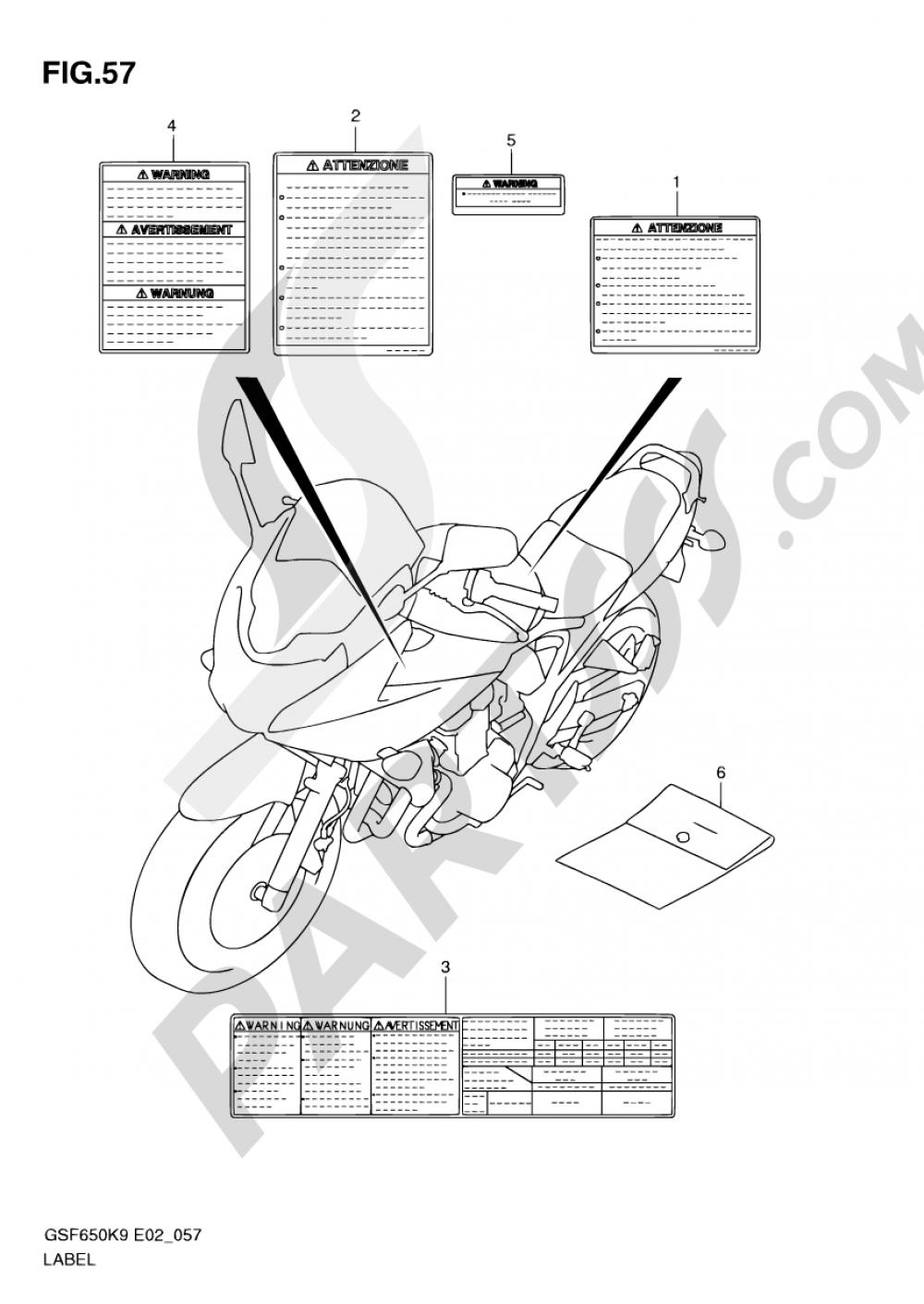 57 - LABEL (MODEL K9) Suzuki BANDIT GSF650 2009