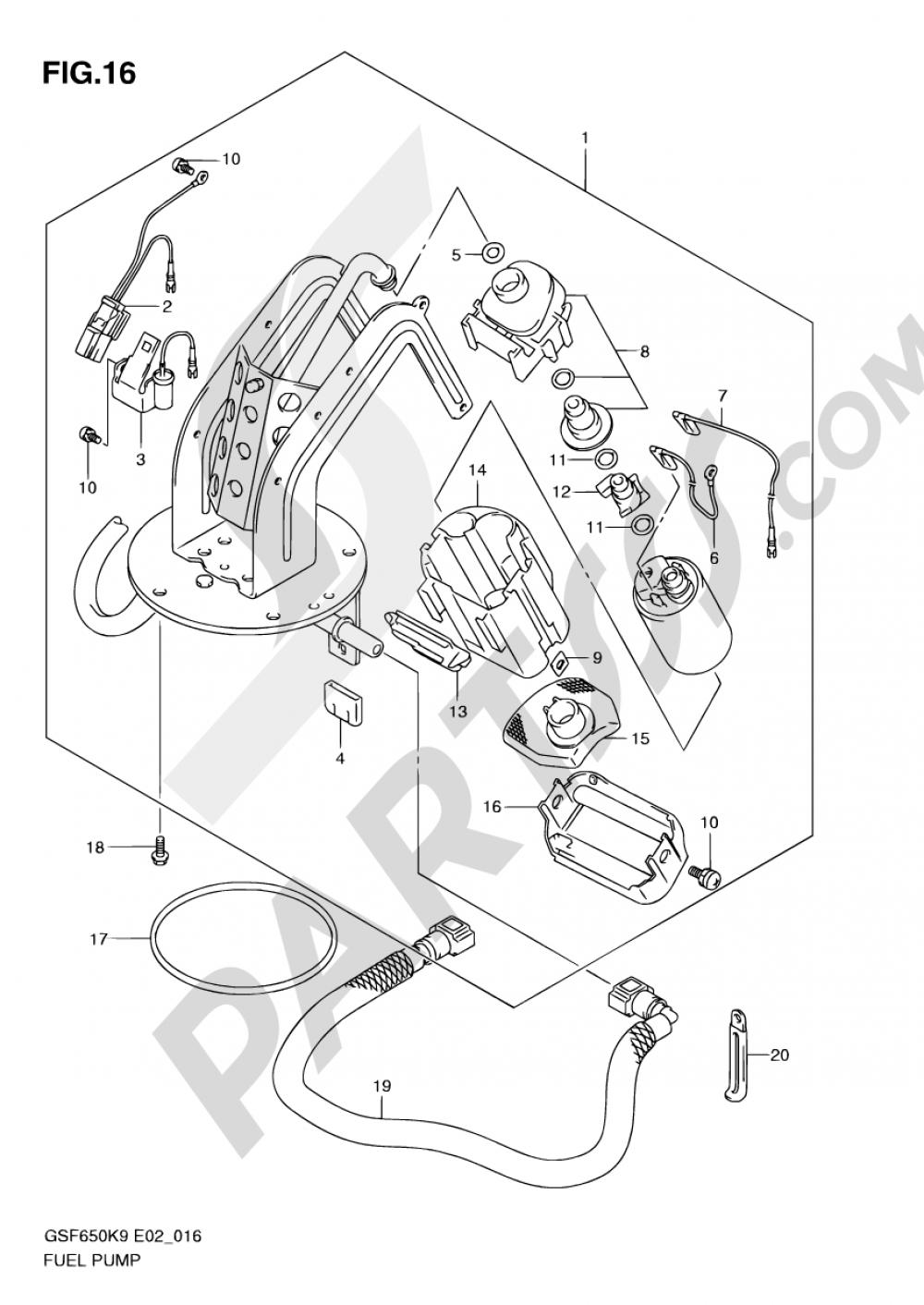 16 - FUEL PUMP Suzuki BANDIT GSF650 2009