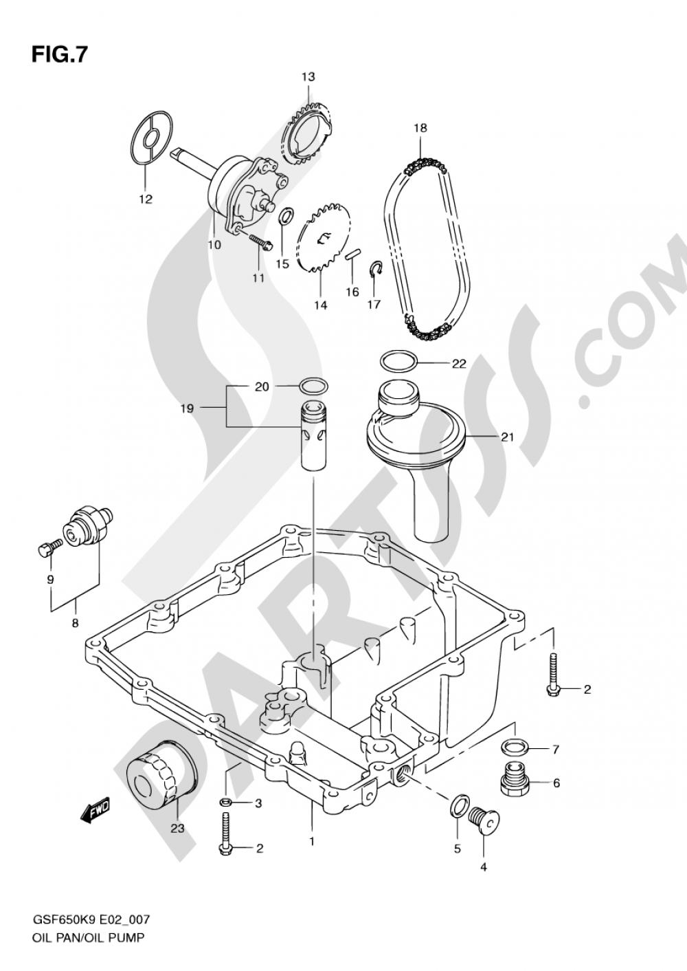 7 - OIL PAN - OIL PUMP Suzuki BANDIT GSF650 2009
