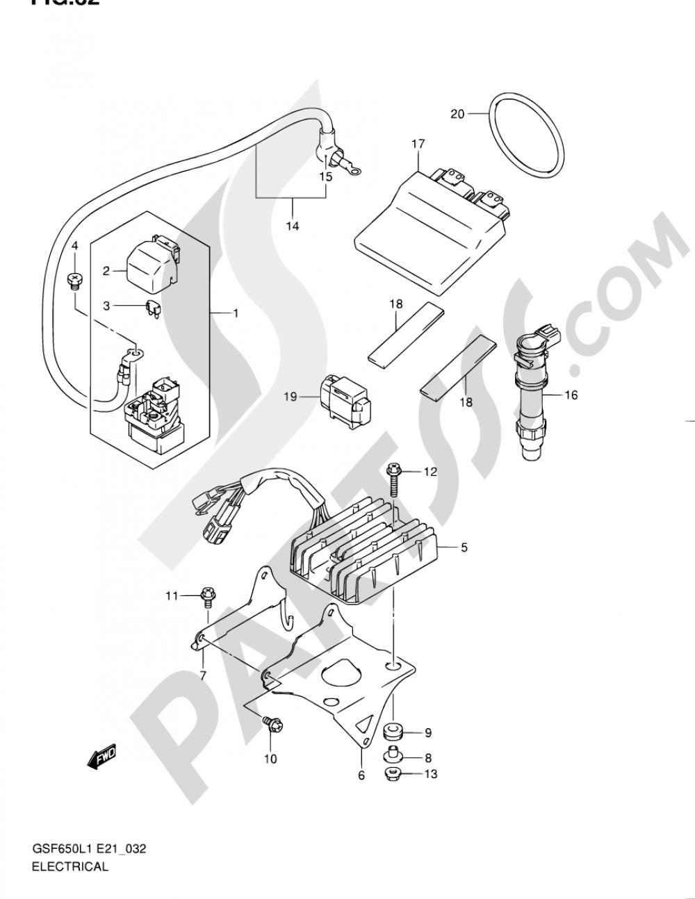 32 - ELECTRICAL (GSF650SAL1 E21) Suzuki BANDIT GSF650 2011
