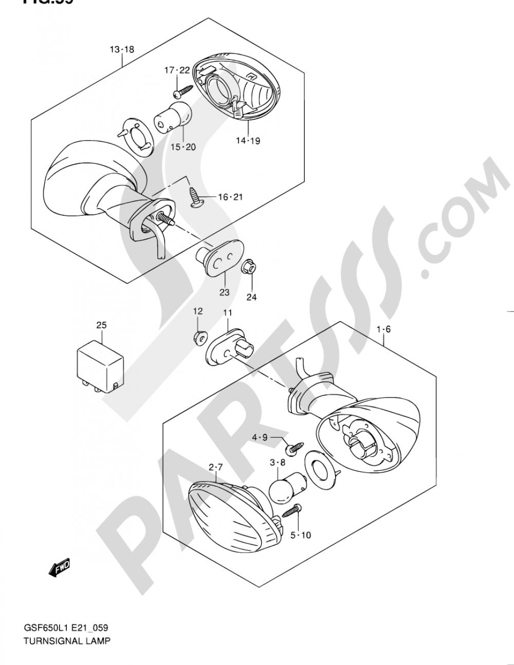 59 - TURNSIGNAL LAMP (GSF650UL1 E21) Suzuki BANDIT GSF650 2011