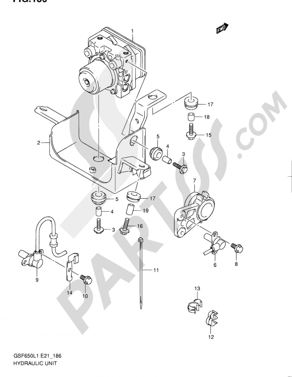 186 - HYDRAULIC UNIT (GSF650UAL1 E21) Suzuki BANDIT GSF650 2011