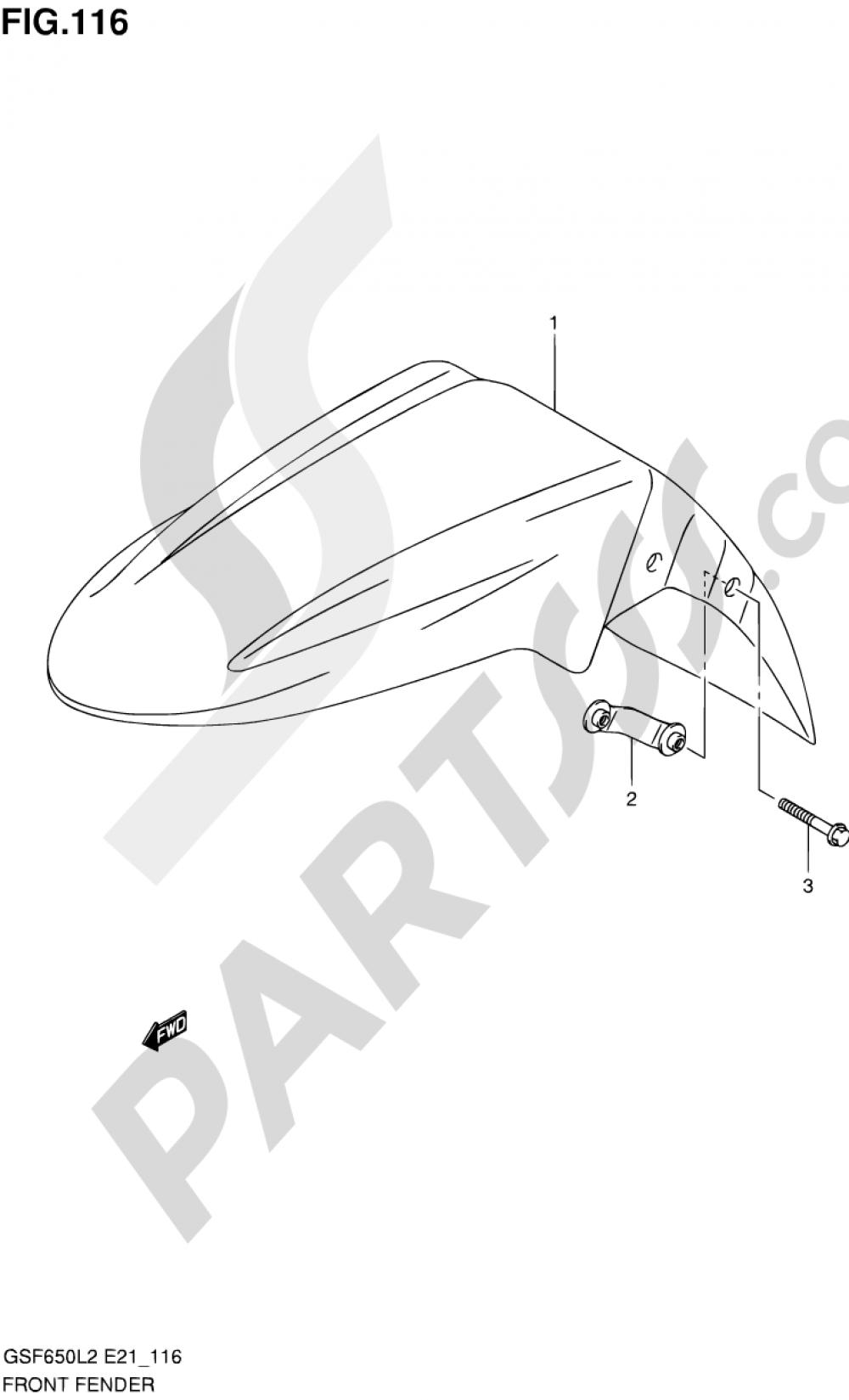 116 - FRONT FENDER (GSF650SUL2 E21) Suzuki BANDIT GSF650 2012