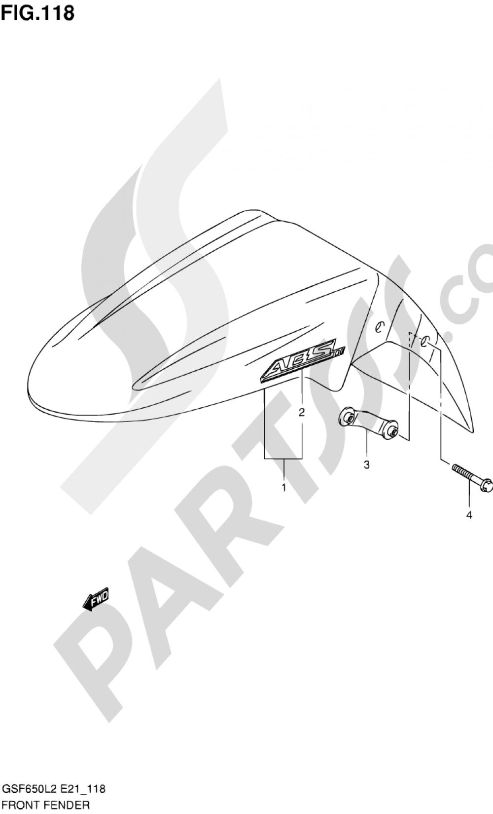 118 - FRONT FENDER (GSF650SUAL2 E21) Suzuki BANDIT GSF650 2012