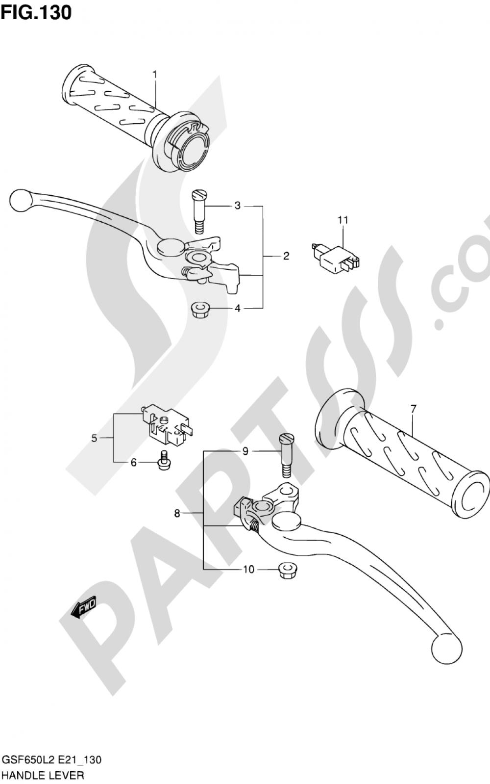 130 - HANDLE LEVER (GSF650UAL2 E21) Suzuki BANDIT GSF650 2012