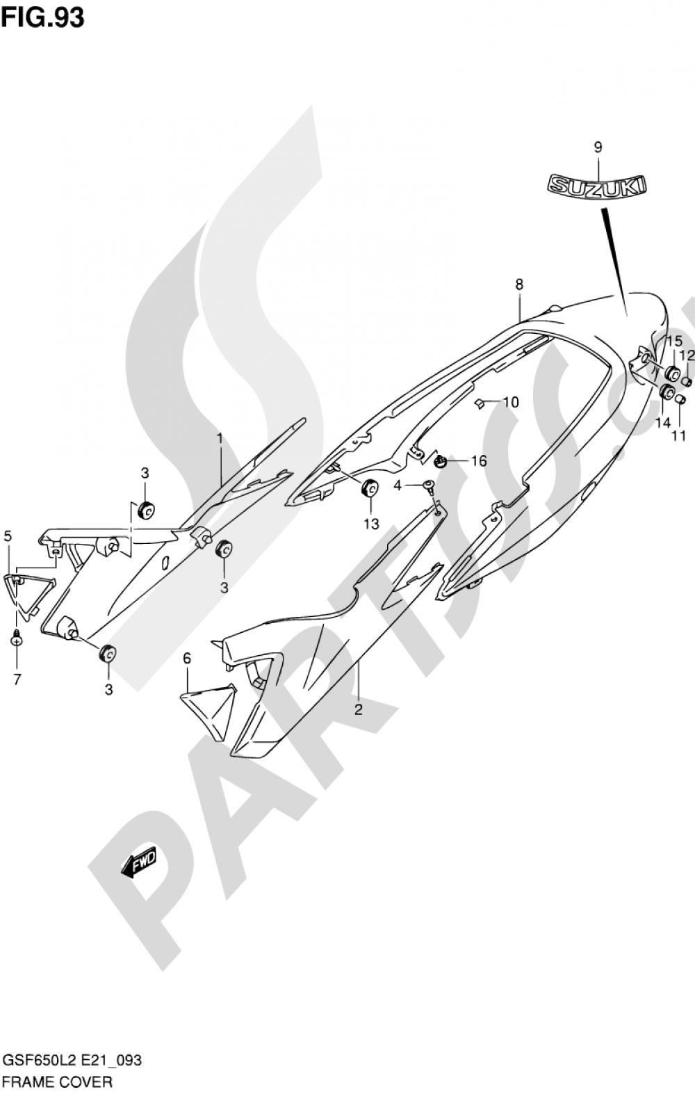 93 - FRAME COVER (GSF650SAL2 E21) Suzuki BANDIT GSF650 2012